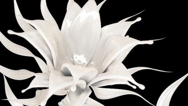 Spritzer dicker weißer flüssigkeit auf schwarz. 3d-illustration, 3d-rendering.