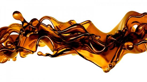 Spritzer einer transparenten orange flüssigkeit auf einem weißen hintergrund. 3d-rendering.