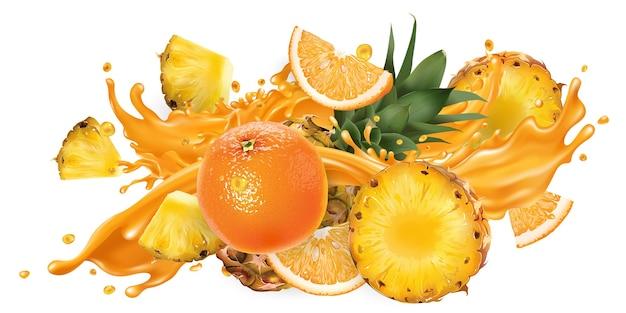 Spritzer fruchtsaft und frische ananas und orange.