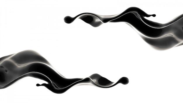 Spritzer schwarzer flüssigkeit. 3d-illustration