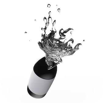 Spritzwasser aus einer schwarzen glasflasche isoliert auf weißem hintergrund
