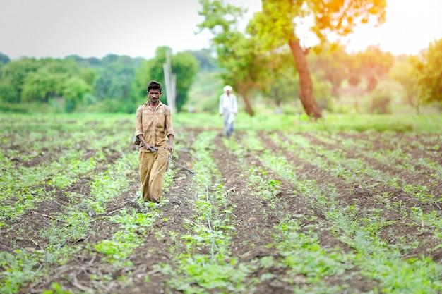 Sprühpestizid des indischen landwirts am feld