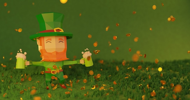St. patrick's day 3d gerenderte illustration in 4k