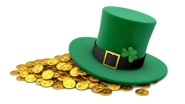 St. patrick's day. grüner koboldhut mit klee und vielen goldmünzen. isoliert auf weißem hintergrund. 3d rendern.