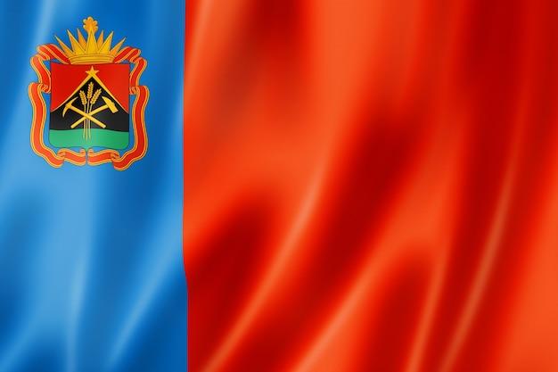 Staat kemerowo - oblast - flagge, russland wehende bannersammlung. 3d-darstellung