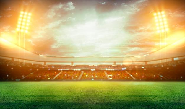 Stadion in lichtern und blitzen 3d.