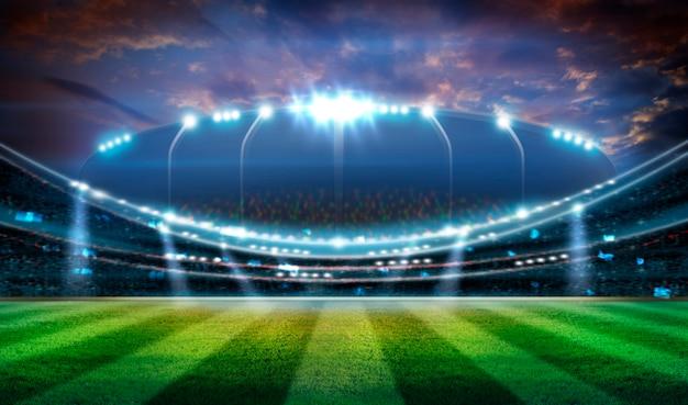 Stadiums-beleuchtungs-hintergrund 3d