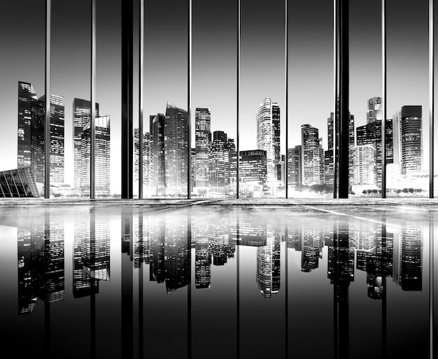 Stadt beleuchtet städtisches szenisches ansicht-gebäude-konzept
