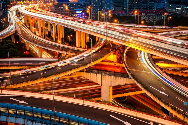 Stadt erhöhte straße, überführung nachtansicht, shanghai