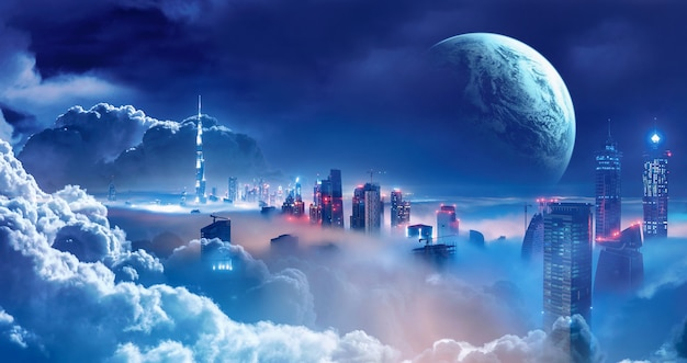 Stadt kreative plakate auf der oberseite der science-fiction-wolke
