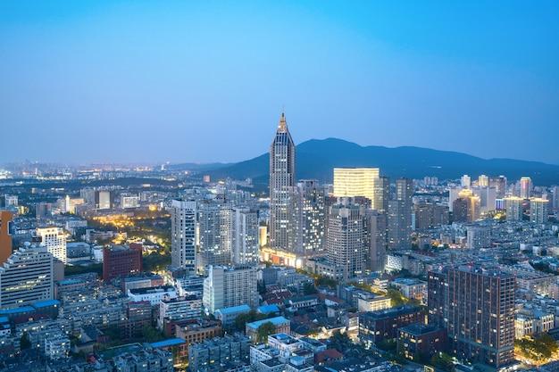 Stadtansicht der nachtansicht nanjing, jiangsu, china