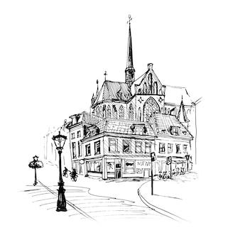 Stadtansicht von haus, kirche und laterne, utrecht, niederlande