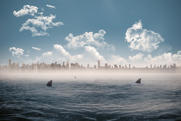 Stadtbild am horizont über hai verseuchtes meer