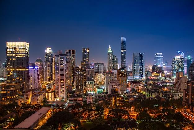 Stadtbild-bangkok-stadt von thailand, zentrales geschäft der bangkok-stadt im stadtzentrum gelegen.