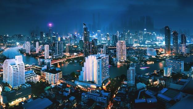 Stadtbild des futuristischen bangkok stadthintergrundes bei nacht in thailand