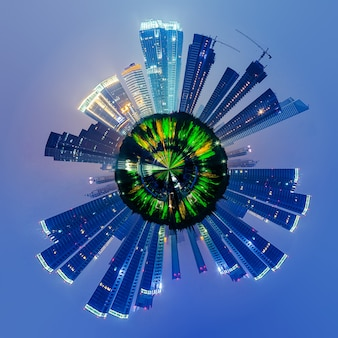Stadtbild mit wenig planeteneffekt