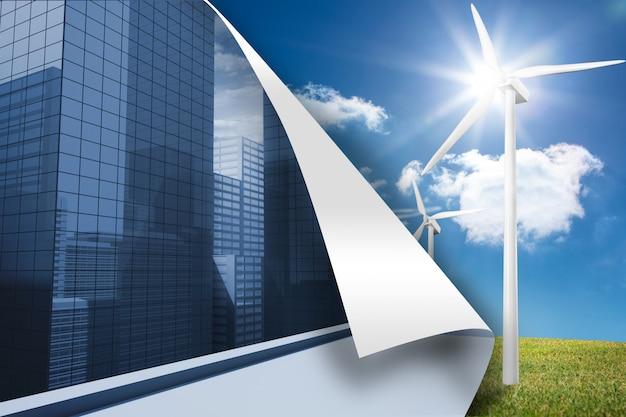 Stadtbildhintergrund über turbinenhintergrund