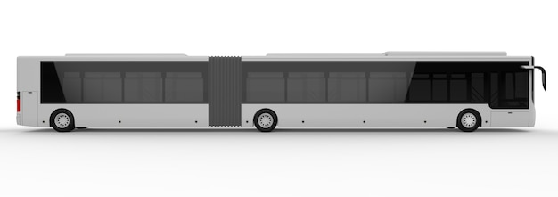 Stadtbus mit zusätzlichem verlängertem teil für große fahrgastkapazität während der hauptverkehrszeit