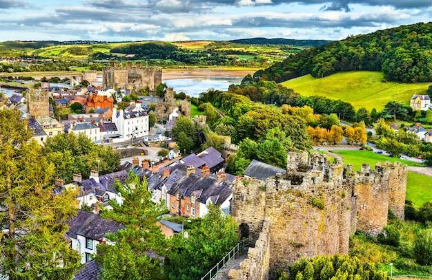 Stadtmauer von conwy, unesco-welterbe in wales, uk