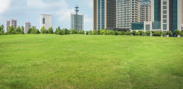 Stadtpark mit modernem gebäudehintergrund