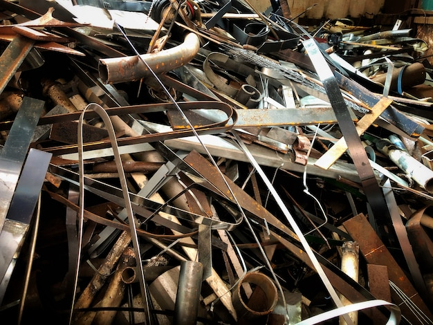 Stahlabfälle, metall, haufen, stahlmüll, bereiten für das recycling,