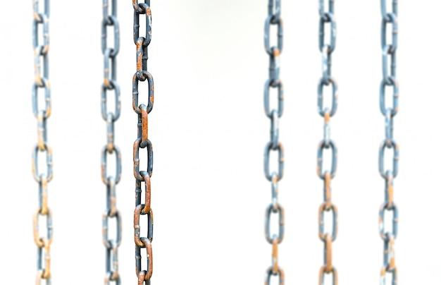 Stahlkette, auf weißem hintergrund
