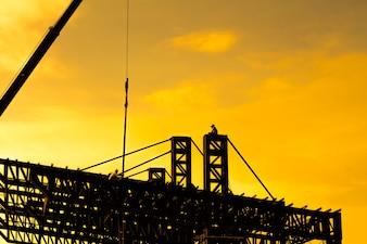 Stahlkonstruktion des Daches