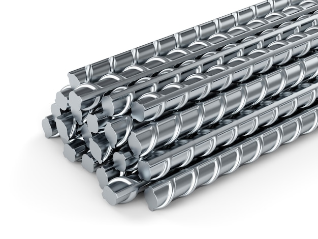 Stahlstangen verstärken. gebäudeanker auf weißem hintergrund.