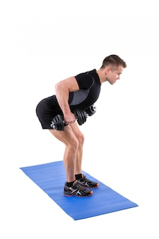 Standing bent over dumbbells row training