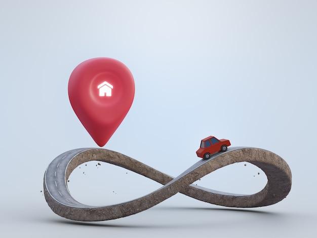 Standort-pin-symbol und rotes spielzeugauto auf erdland mit asphaltauffahrt