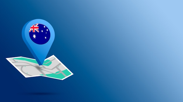 Standort-symbol mit australien-flagge auf karte 3d rendern