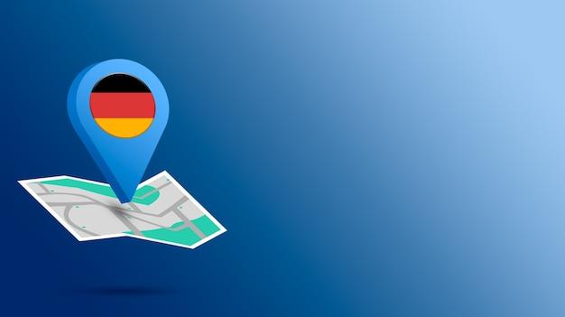 Standort-symbol mit deutschland-flagge auf karte 3d rendern