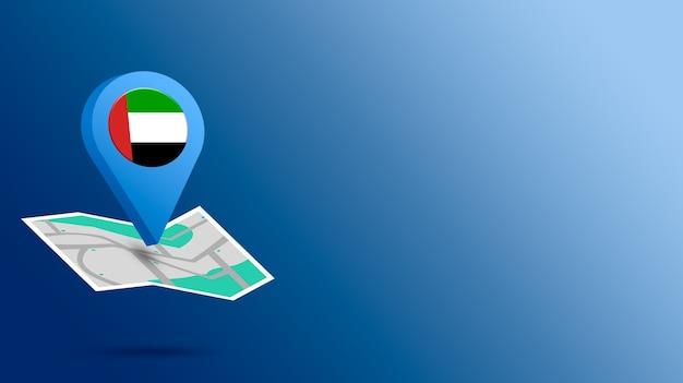 Standort-symbol mit flagge der vereinigten arabischen emirate auf karte 3d rendern