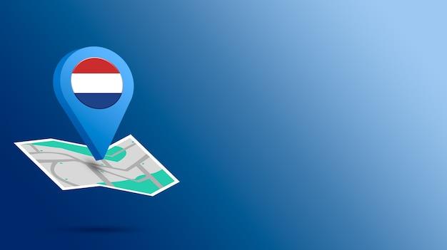 Standort-symbol mit niederländischer flagge auf karte 3d rendern