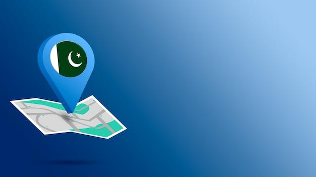 Standort-symbol mit pakistan-flagge auf karte 3d rendern