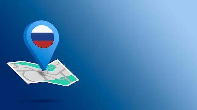 Standort-symbol mit russland-flagge auf karte 3d rendern
