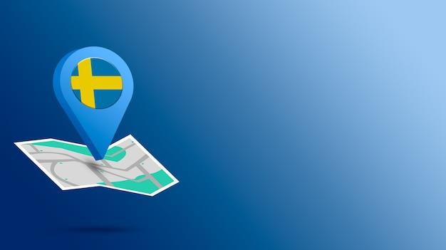 Standort-symbol mit schweden-flagge auf karte 3d rendern