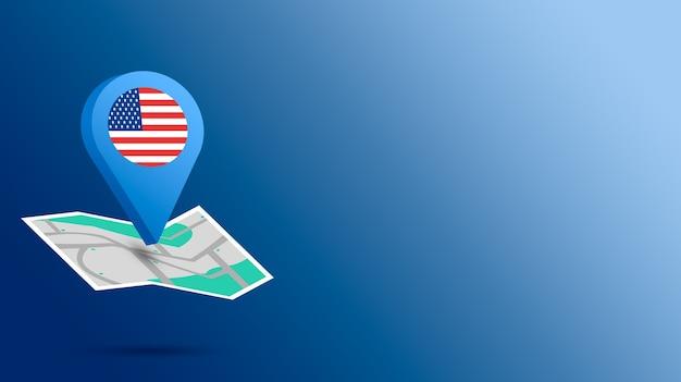 Standort-symbol mit usa-flagge auf karte 3d rendern