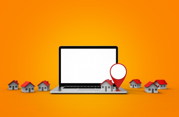 Standortikone und haus setzen auf modernen laptop lokalisiert auf weißem hintergrund.