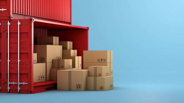 Stapel brauner boxverpackung und behälter
