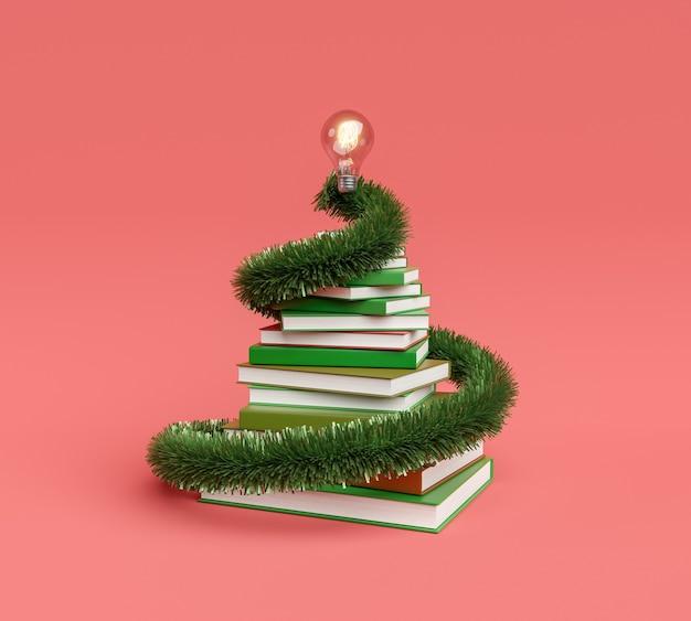Stapel bücher mit weihnachtsschmuck und glühbirne