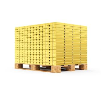 Stapel der goldenen balken auf einer hölzernen palette lokalisiert auf weißem hintergrund