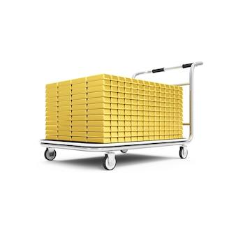 Stapel der goldenen balken auf wagen lokalisiert auf weißem hintergrund