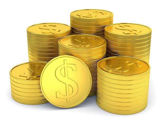 Stapel der goldenen münzen mit dem dollarsymbol getrennt auf weiß