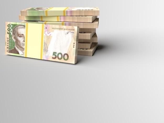 Stapel der ukrainischen geldgriwna mit grauem leerem hintergrund