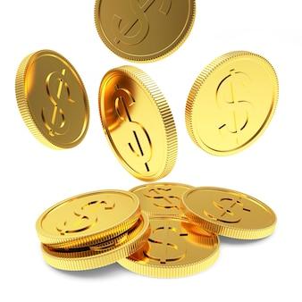 Stapel fallender goldmünzen