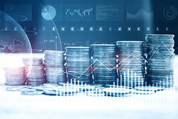 Stapel geldmünze mit handelsgraph für finanzinvestor