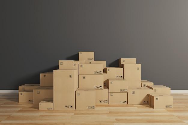 Stapel geschlossener pappkartons, die mit klebstoff auf den boden gewickelt sind. konzept von umzug und versand