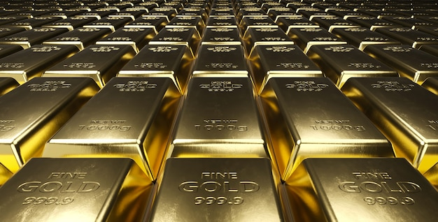 Stapel goldbarren.