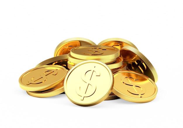 Stapel goldener münzen als sockel